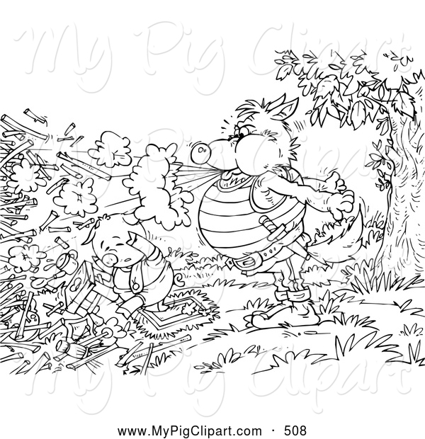 Swine Clipart of a Coloring Page of a Wolf Blowing down a Pig