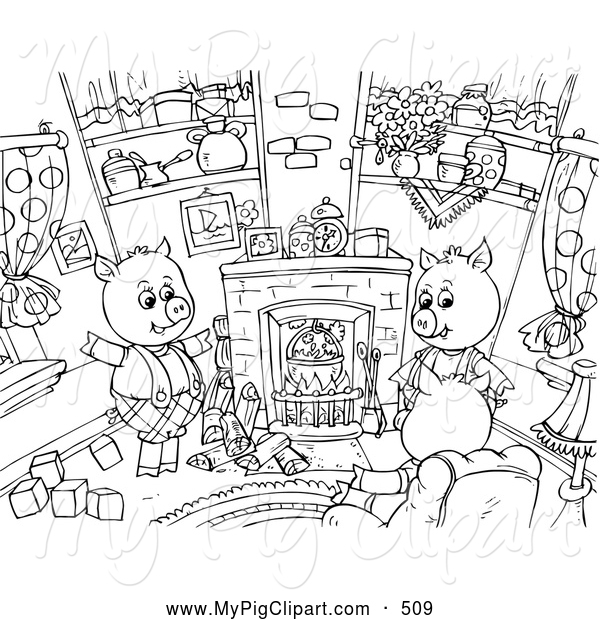 Swine Clipart of a Coloring Page Outline of Three Little Pigs Sitting Around a Fireplace