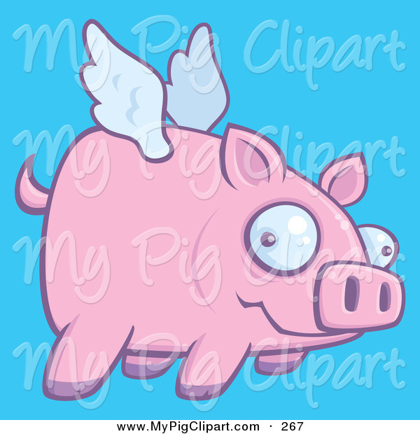 Swine Clipart of a Confused Pink Pig Flying in a Blue Sky to the Right