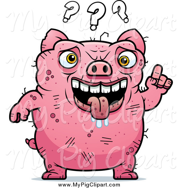 Swine Clipart of a Confused Ugly, Drooling Pig