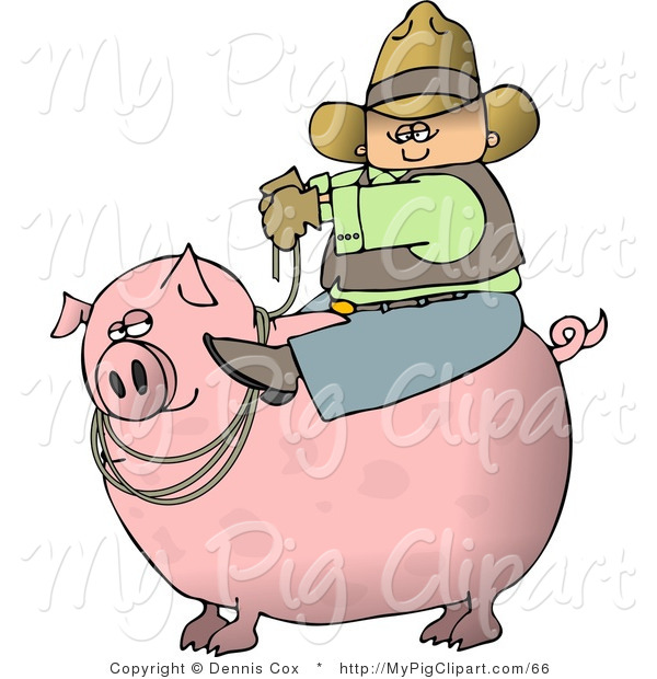 Swine Clipart of a Cowboy Farmer Man Riding a Big Pink Pig