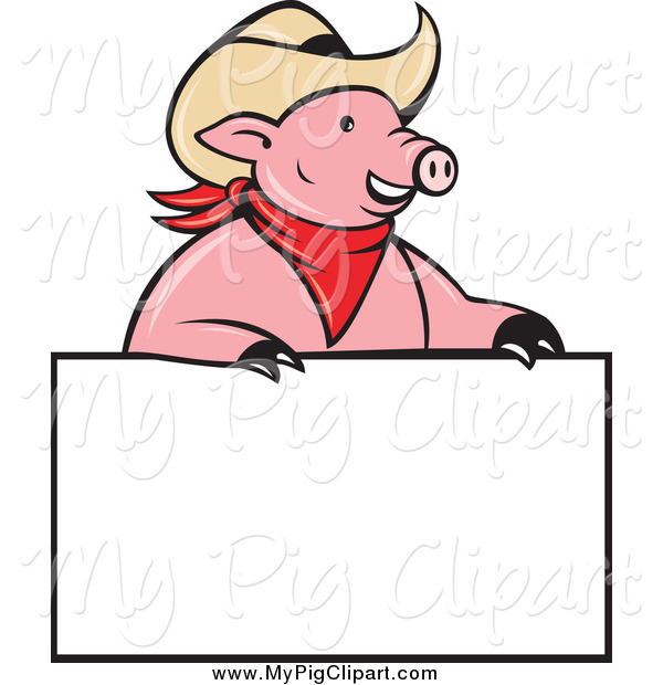 Swine Clipart of a Cowboy Pig Wearing a Hat over a Blank Sign