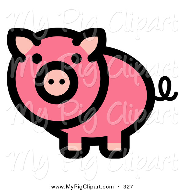 Swine Clipart of a Curly Tailed Pink Pig Looking Outwards on White