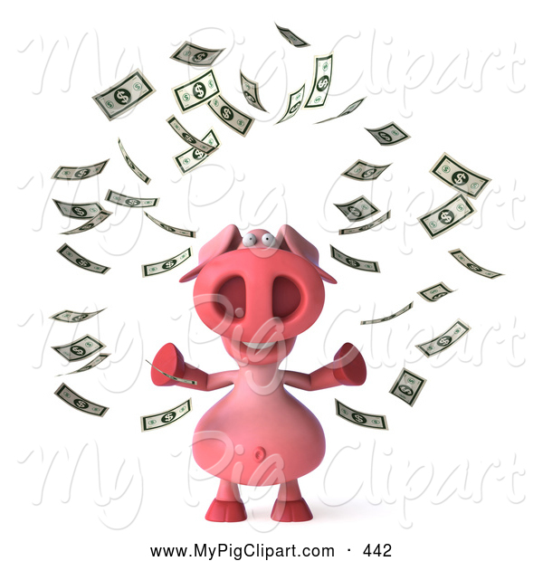 Swine Clipart of a Cute 3d Pig Character Surrounded by Money