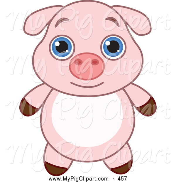 : Swine Clipart of a Cute and Adorable Baby Pink Piglet with Big Blue Eyes