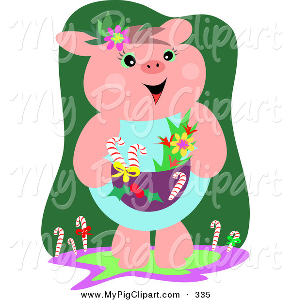 Swine Clipart of a Cute and Festive Christmas Pig with Flowers and Candy Canes