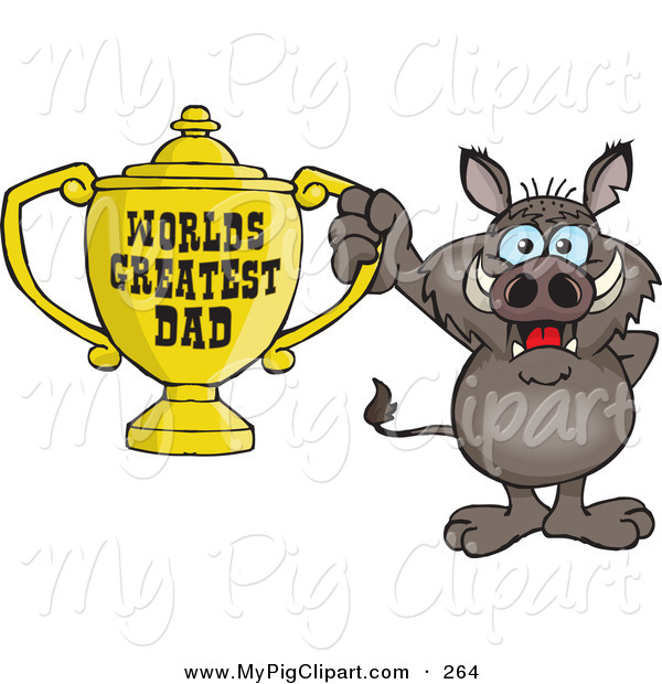 Swine Clipart of a Cute Boar Character Holding a Golden Worlds Greatest Dad Trophy