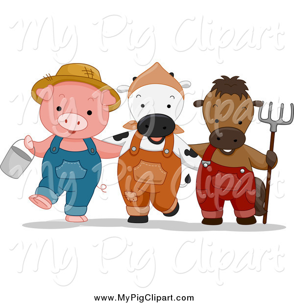 Swine Clipart of a Cute Farmer Pig Cow and Horse with a Bucket and Rake