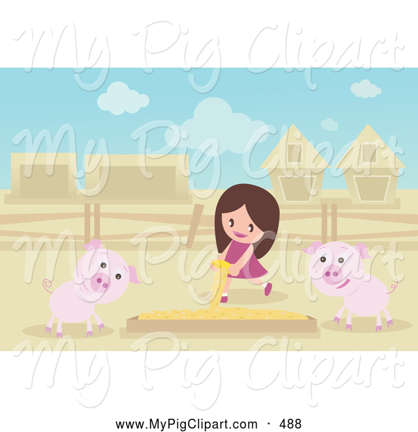 Swine Clipart of a Cute Girl Pouring Food in a Box for Pigs