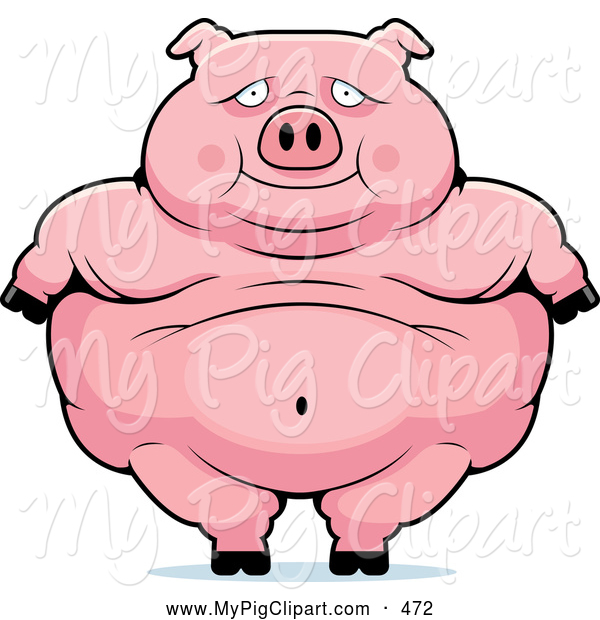 Swine Clipart of a Cute Obese Pig Standing