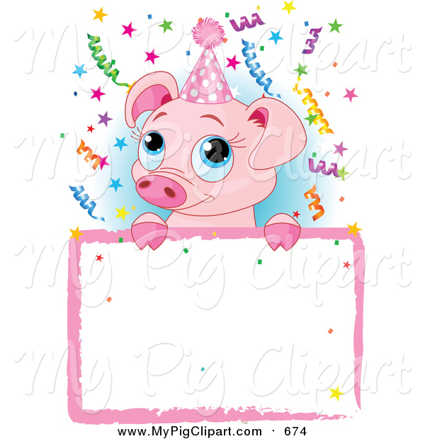 Swine Clipart of a Cute Pig over a Birthday Party Sign - Cartoon Style