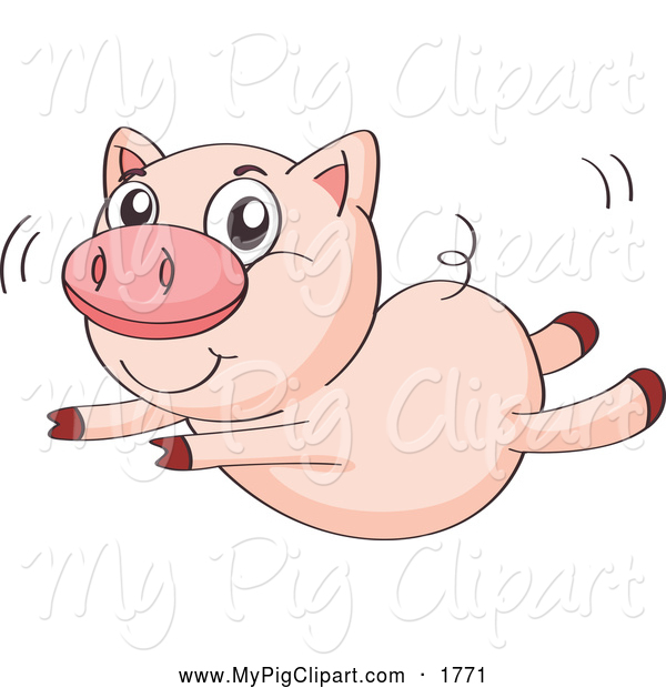 Swine Clipart of a Cute Pig Trying to Fly