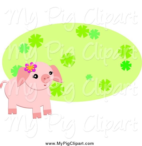 Swine Clipart of a Cute Pig Wearing a Flower by a Green Oval