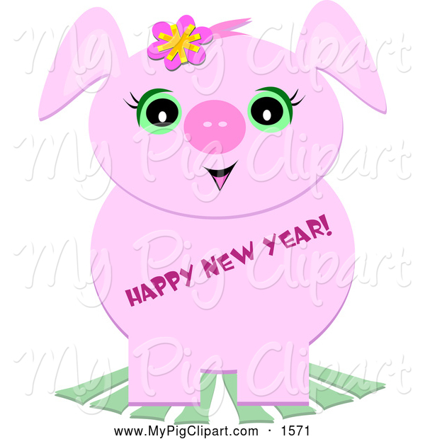 Swine Clipart of a Cute Pig with Happy New Year Text