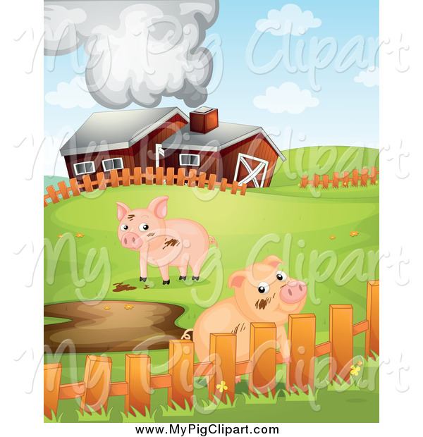 Swine Clipart of a Cute Pigs with Mud Puddles by a Barn