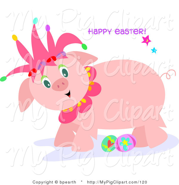 Swine Clipart of a Cute Pink Jester Pig with Easter Eggs on a Holiday Greeting