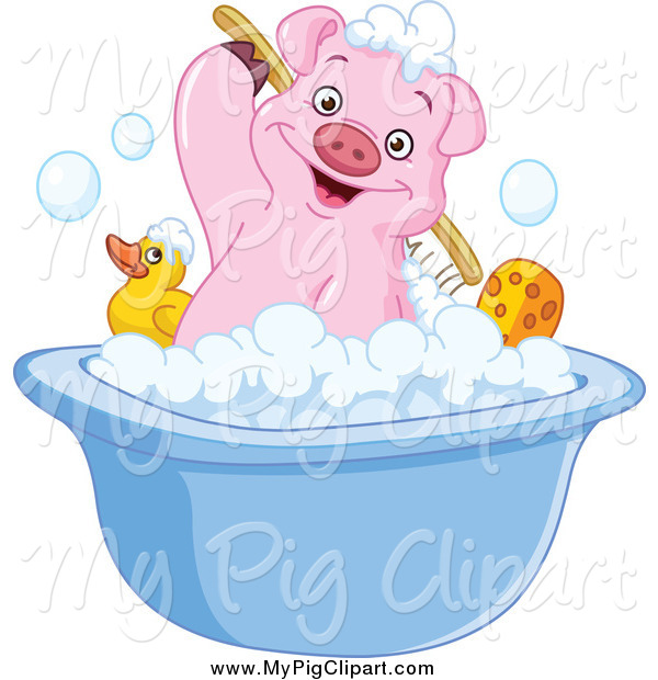 Swine Clipart of a Cute Pink Pig Scrubbing His Back in a Bath Tub