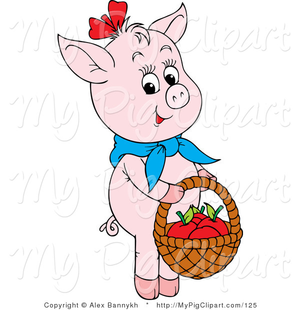 Swine Clipart of a Cute Pink Pig Wearing a Knotted Blue Scarf, Carrying Apples in a Basket