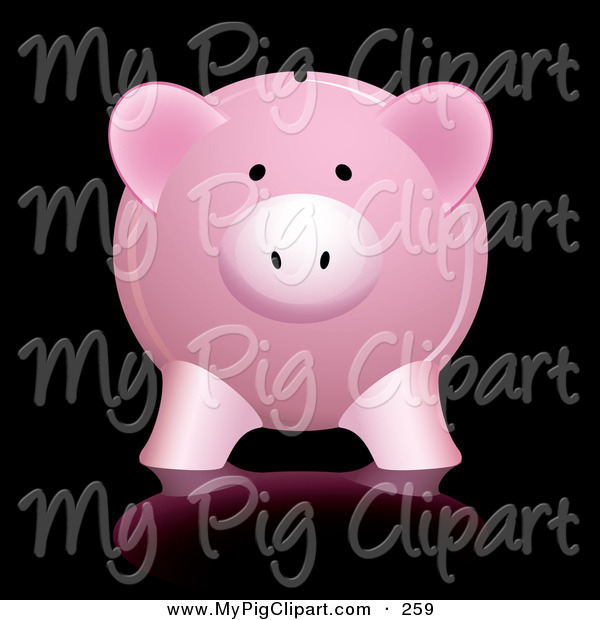 Swine Clipart of a Cute Pink Piggy Bank with Reflection Against Black Background
