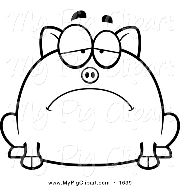 Swine Clipart of a Depressed Pig