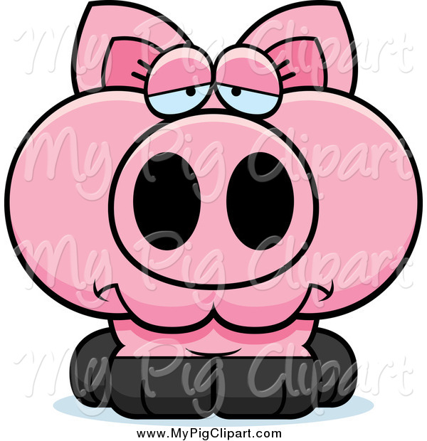 Swine Clipart of a Depressed Pink Pig