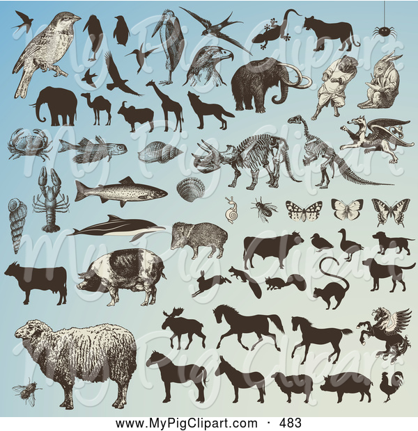 Swine Clipart of a Digital Collage of a Multitude of Animals and Animal Silhouettes on Blue