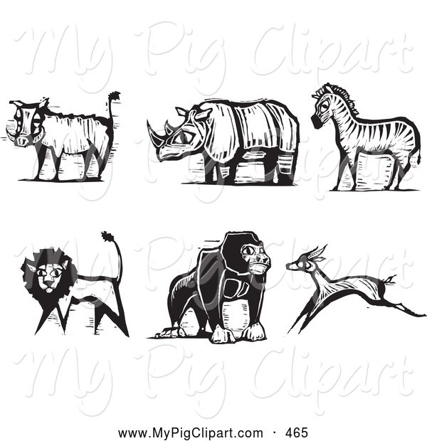 Swine Clipart of a Digital Set of Carved Styled Black and White Safari Boar, Rhino, Zebra, Lion, Gorilla and Antelope