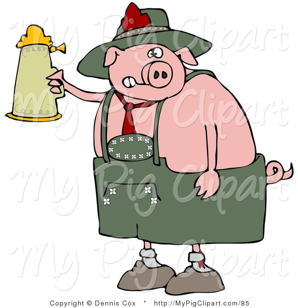 : Swine Clipart of a Drunk Fat Pig Drinking a Beer from a Setin at Oktoberfest