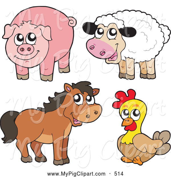 Swine Clipart of a Farm Animal Group; Cute Sheep, Pig, Horse and Chicken