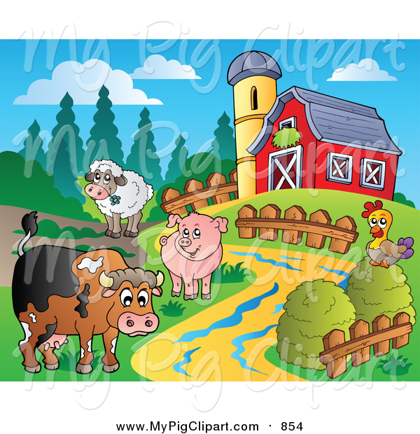 Swine Clipart of a Farm Animal Scene with a Red Barn and Silo