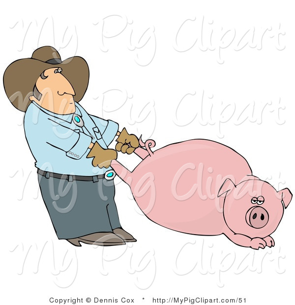 Swine Clipart of a Farmer Man Pulling a Fat Swine by the Hind Legs