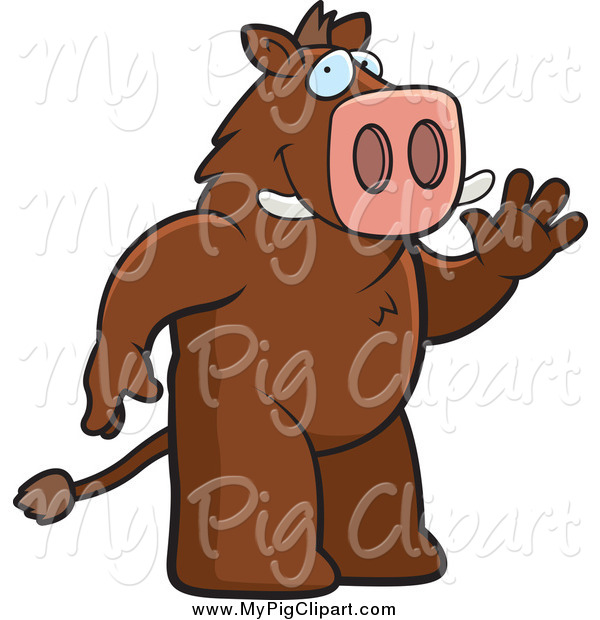 Swine Clipart of a Friendly Boar Waving