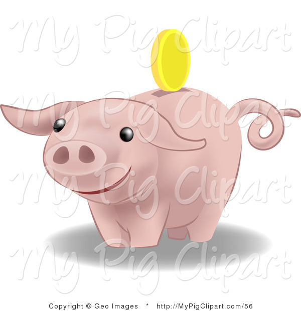 Swine Clipart of a Golden Coin Above the Slot of a Pink Pig Bank, About to Drop in