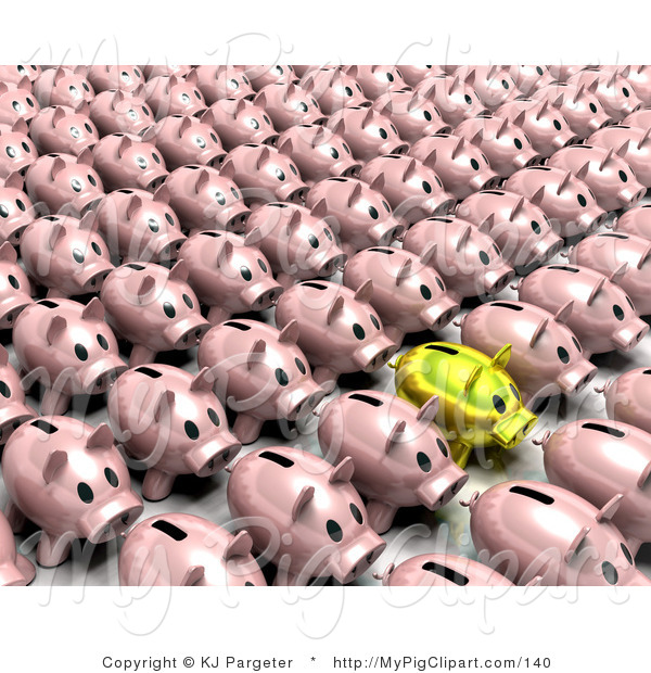 : Swine Clipart of a Golden Piggy Bank Standing out from a Crowd of Pink Banks Standing in Rows