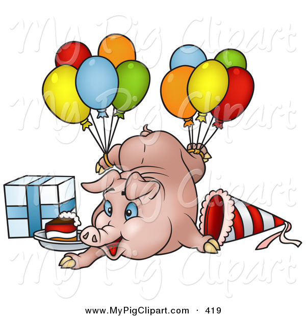 Swine Clipart of a Goofy Birthday Pig with Balloons, a Present and Slice of Cake