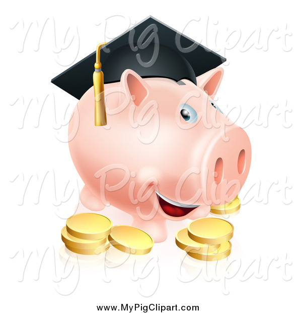 : Swine Clipart of a Graduate Piggy Bank with a Cap and Gold Coins