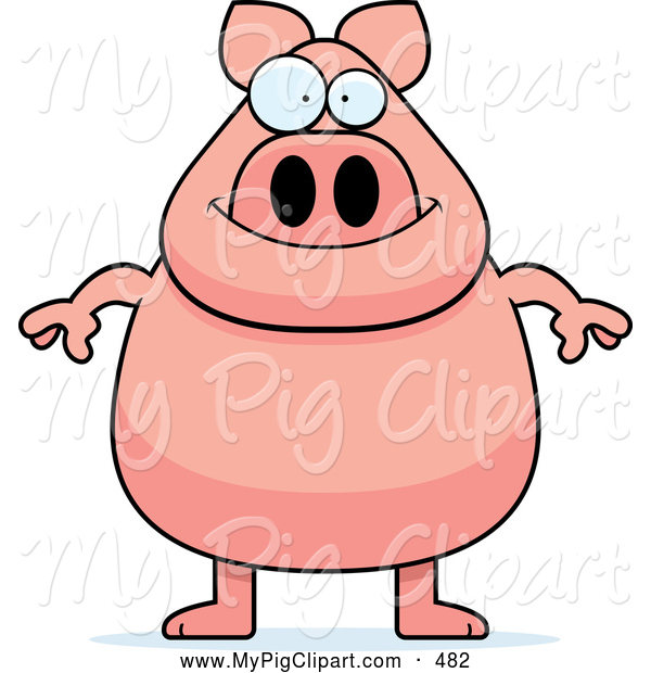 Swine Clipart of a Grinning Chubby Pink Pig