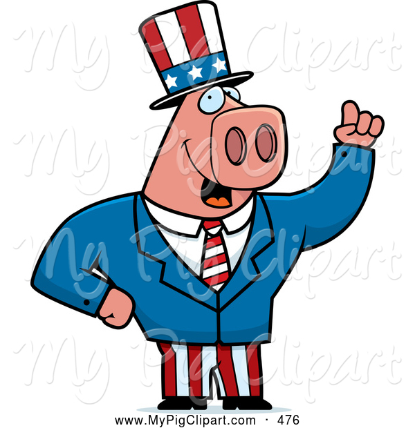 Swine Clipart of a Grinning Patriotic Pig