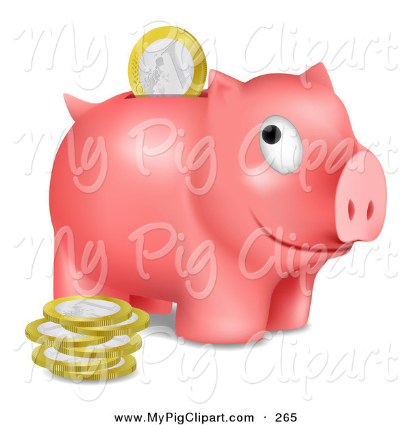 Swine Clipart of a Grinning Pink Piggy Bank Facing Right with Euros Being Inserted Through the Opening