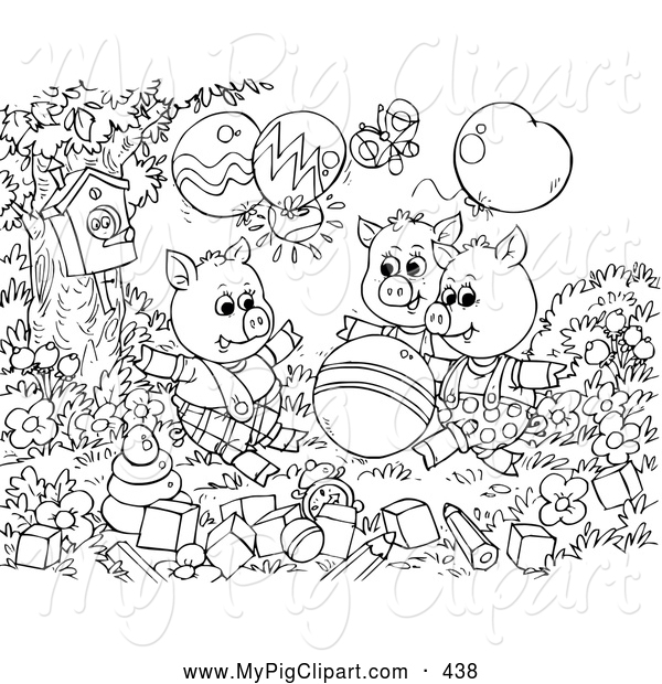 Swine Clipart of a Group of Black and White Three Little Pigs and the Big Bad Wolf Coloring Page Outline