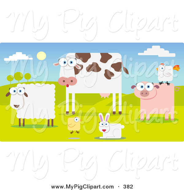 Swine Clipart of a Group of Farm Animals in a Pasture