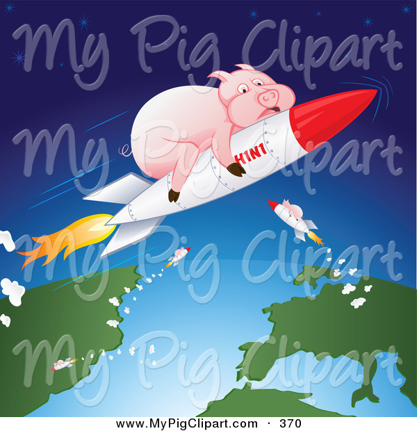Swine Clipart of a Group of Fat Pink Pigs Shooting Through Space on H1N1 Rockets