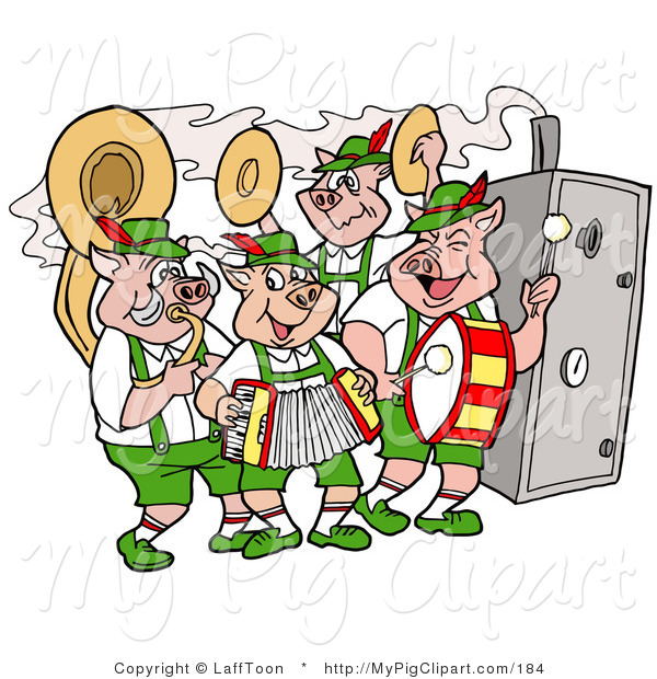 Swine Clipart of a Group of Pig Oktoberfest Band Playing Instruments and Standing by a Smoker