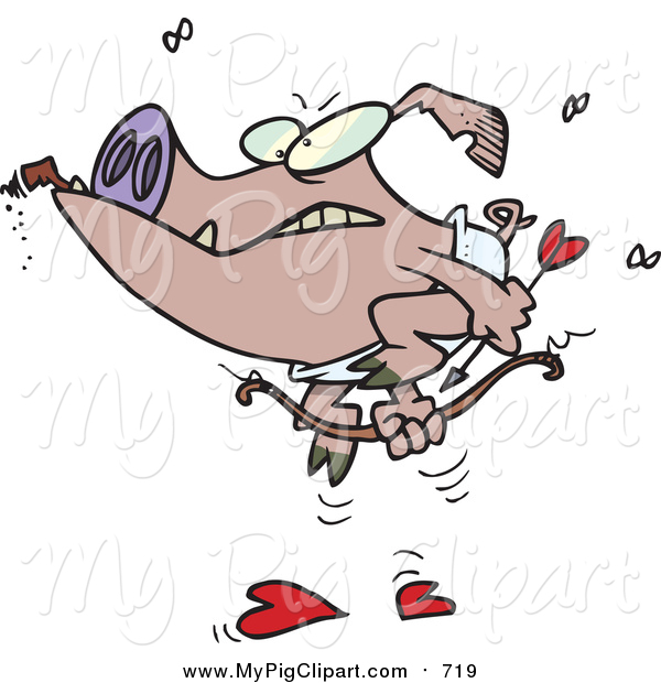 Swine Clipart of a Grumpy Cupid Pig Smoking a Cigar