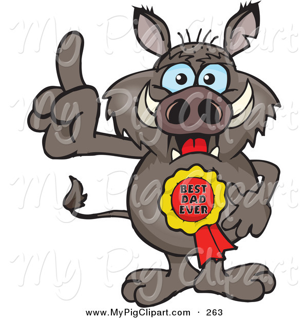 Swine Clipart of a Happy Boar Character Wearing a Best Dad Ever Ribbon
