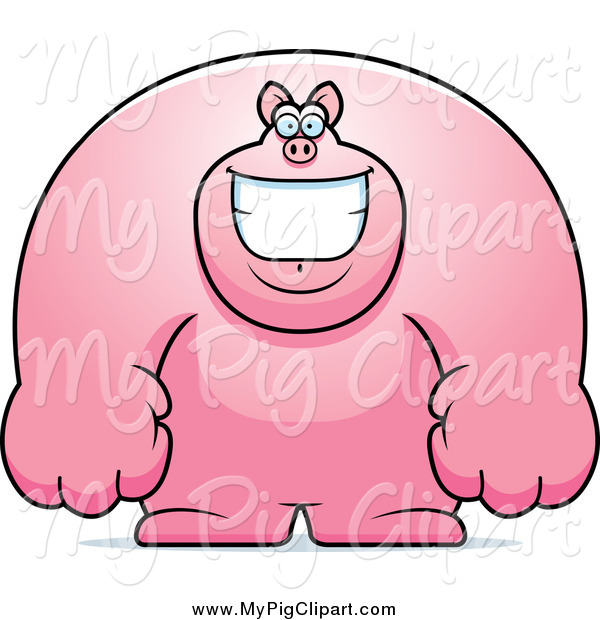 Swine Clipart of a Happy Buff Pig Grinning