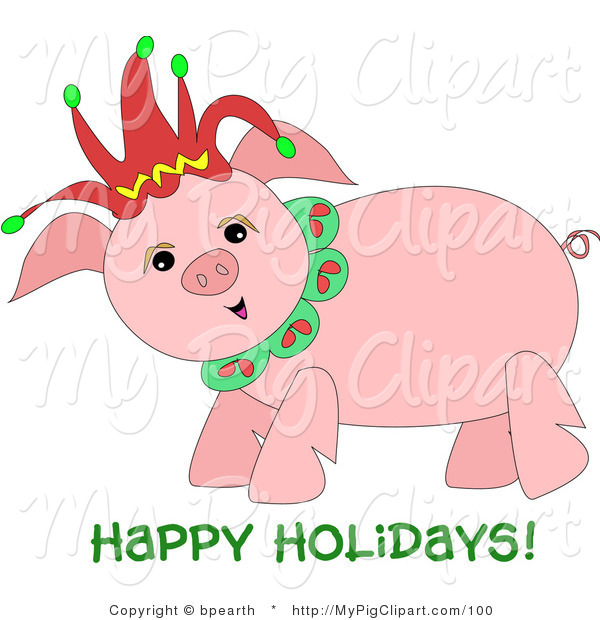 "Swine Clipart of a Happy Chubby Pig Wearing a Christmas Jester Hat with ""Happy Holidays"" Text"