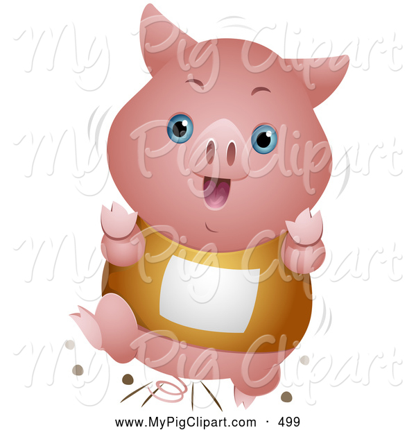 Swine Clipart of a Happy Cute Piglet Running in a Race