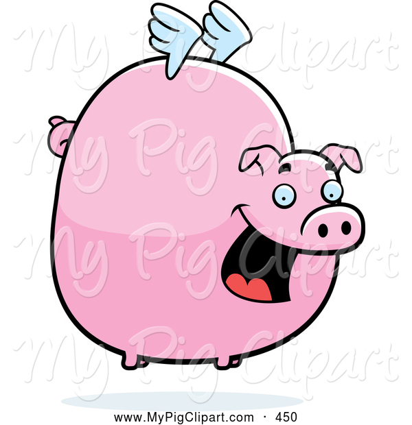 Swine Clipart of a Happy Fat Flying Pig with Little White Wings