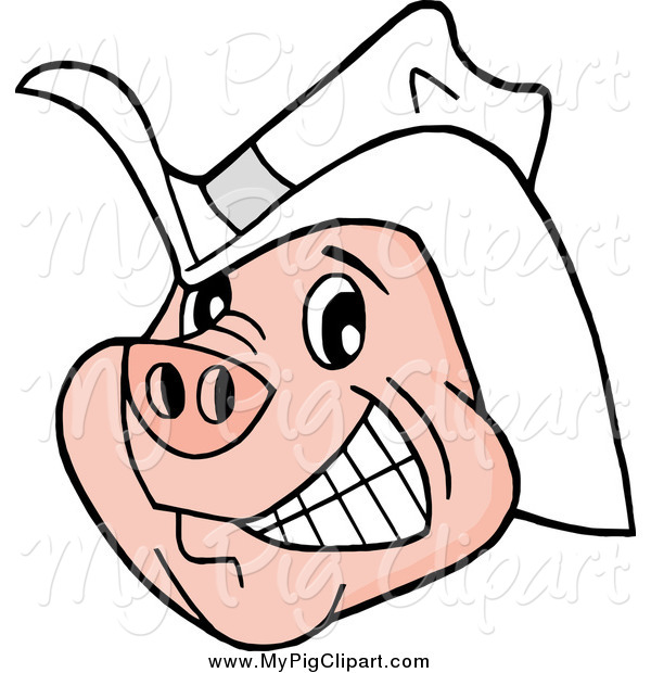 Swine Clipart of a Happy Grinning Pig Wearing a White Cowboy Hat